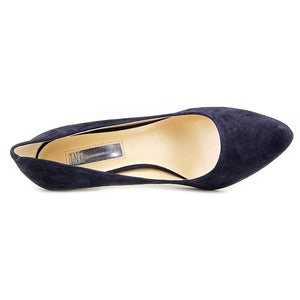 INC International Concepts Womens Zitah Leather Pointed, Midnight Blue, Size 7.0