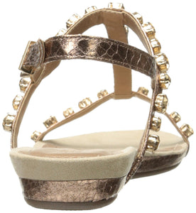 Kenneth Cole REACTION Women's Lost Catch Flat Open Toe Gemstone Accents-Metallic Gladiator Sandal