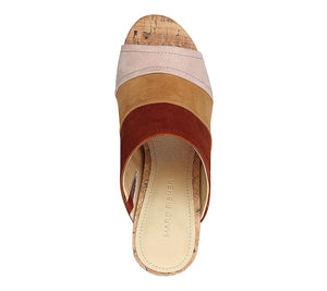 Marc Fisher Prenna Cork Bottom Mules Brown 6.5 M