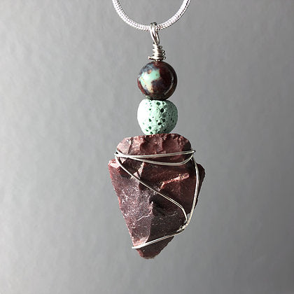 Diffuser Pendant with Arrowhead, African Green Opal and Lava Rock