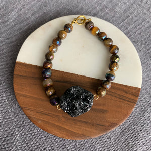 Luster Tiger's Eye and Druzy Bracelet