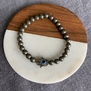 Pyrite Bracelet with Hamsa Hand and Evil Eye