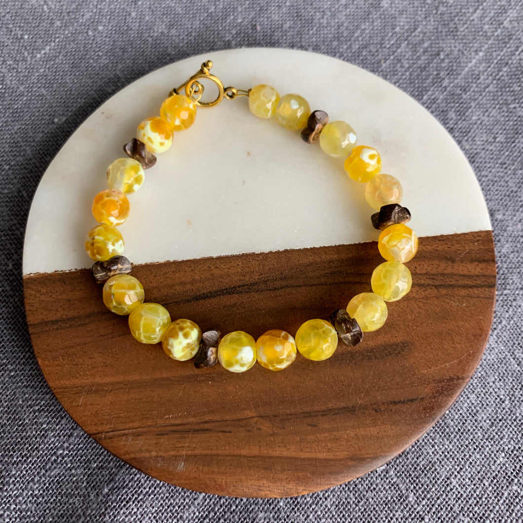 Yellow Agate Bracelet with Coconut Shell Accents and Toggle