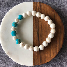 Diffuser Bracelet with Howlite, Turquoise and Lava Rock