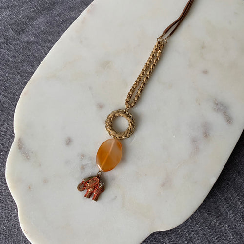 Carnelian and Elephant Necklace