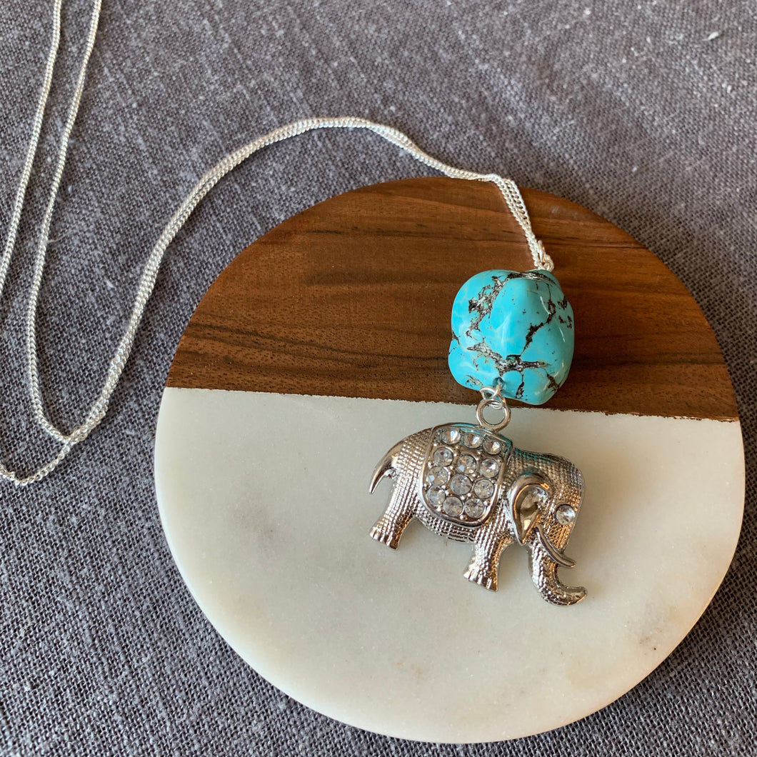 Chunky Turquoise Necklace with Elephant Charm