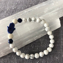 Hamsa Diffuser Bracelet with Howlite, Lapis Lazuli and Lava Rock