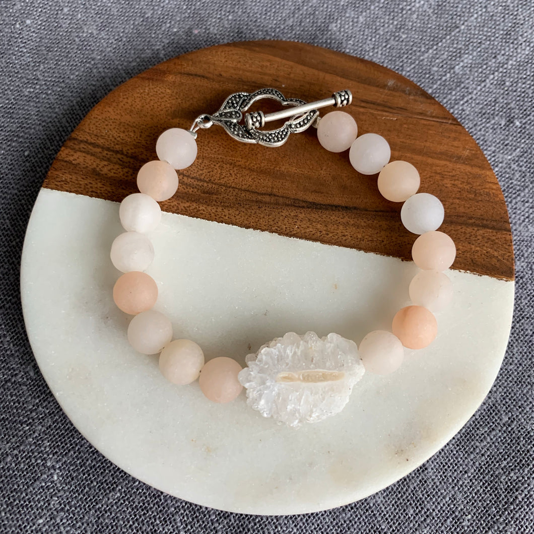 Rose Aventurine and Stalactite Bracelet with Pretty Toggle
