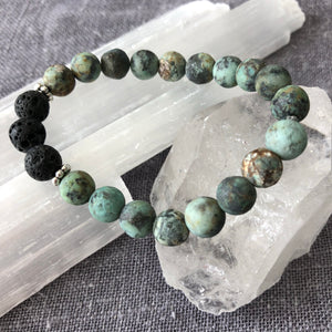 Diffuser Bracelet with African Turquoise and Lava Rock