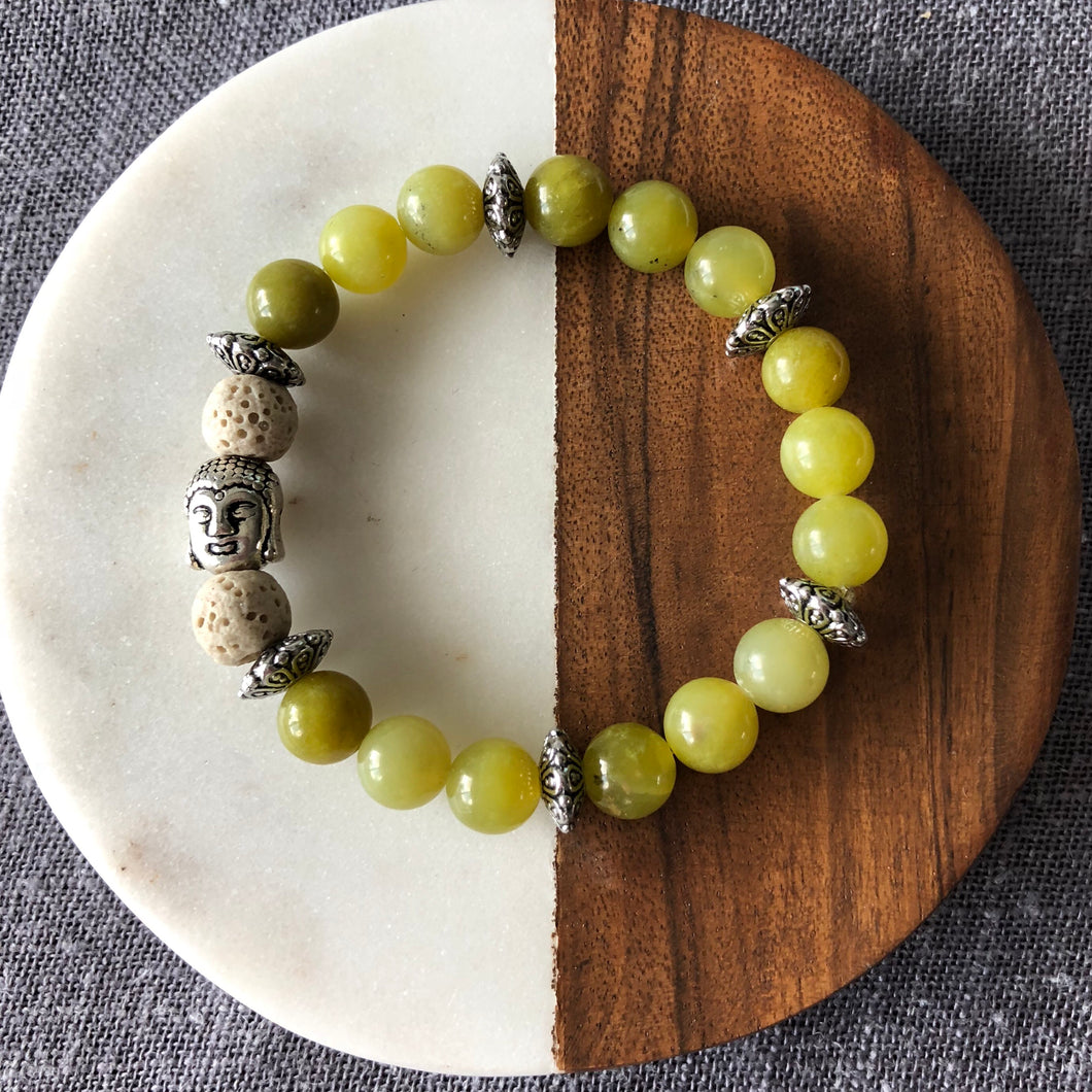 Buddha Diffuser Bracelet with Olive Jade and Lava Rock