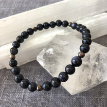 Handmade Healing Crystal Blue Goldstone Bracelet with Hematite Accent