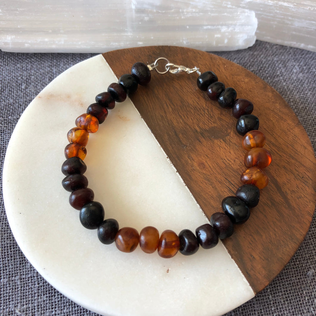 Cherry and Honey Genuine Baltic Amber Bracelet with Clasp Handmade