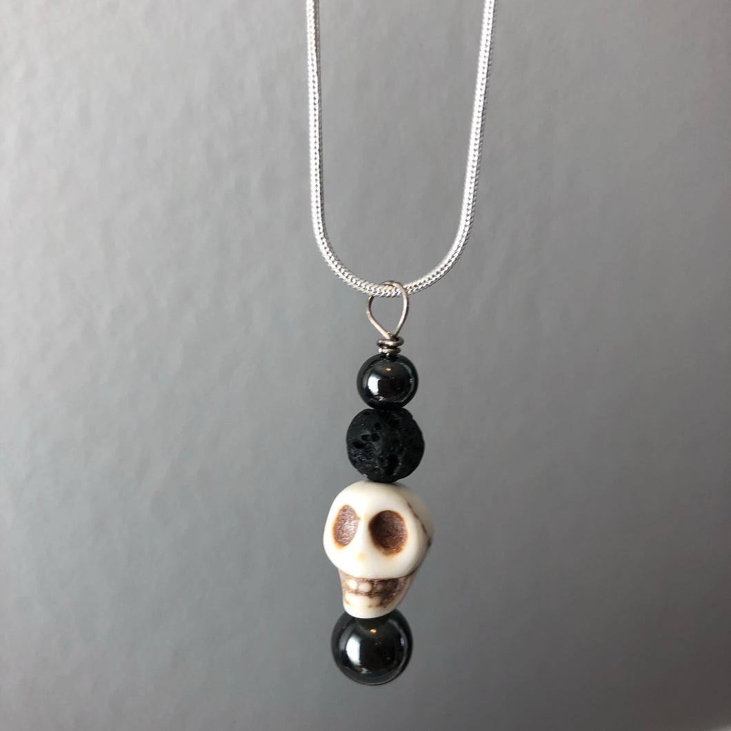 Skull Diffuser Necklace with Hematite and Lava Rock