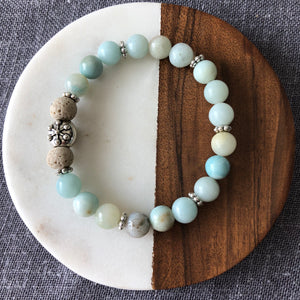 Snowflake Diffuser Bracelet with Amazonite and Lava Rock