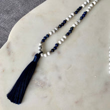 Mala with Howlite, Hematite, Lapis Lazuli and Navy Tassel