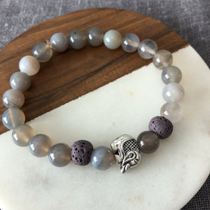 Elephant Diffuser Bracelet with Gray Onyx and Lava Rock