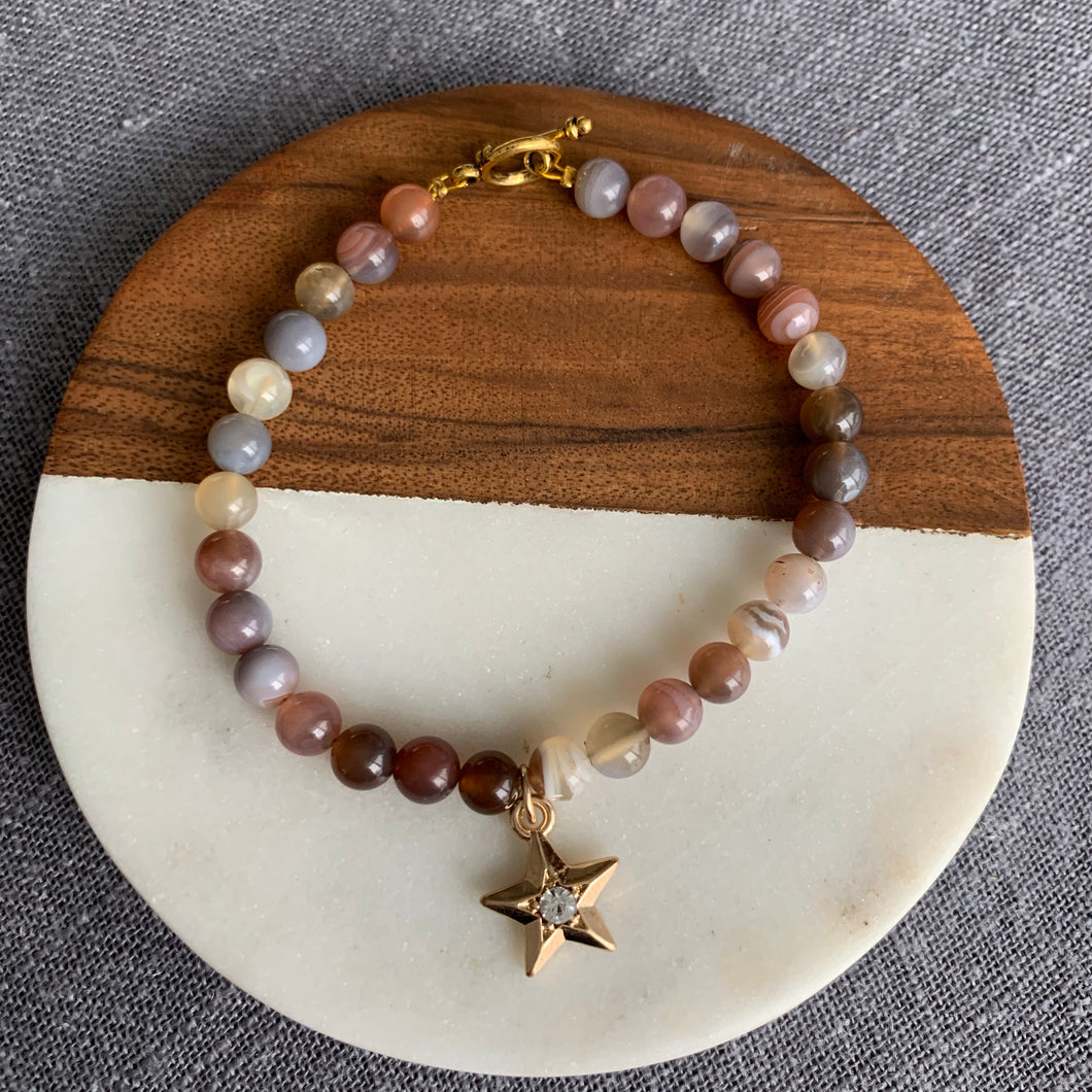 Starry Charm and Agate Toggle Bracelet