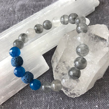 Diffuser Bracelet with Smokey Quartz, Blue Quartz and Lava Rock