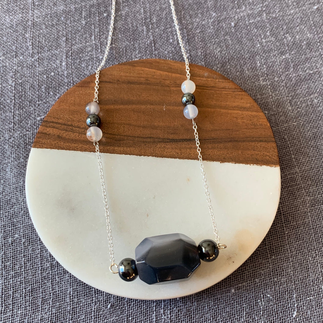 Agate and Hematite Necklace