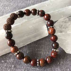 Diffuser Bracelet with Poppy Jasper and Lava Rock