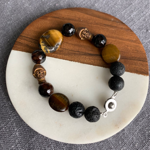 Hematite Buddha Diffuser Bracelet with Tiger's Eye, Lava Rock and Agate
