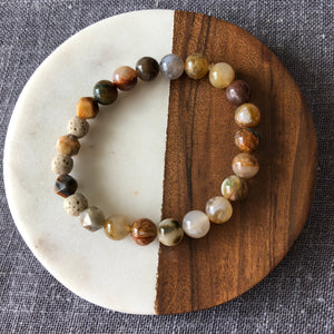 Diffuser Bracelet with Russian Lace Agate, Crazy Lace Agate and Lava Rock