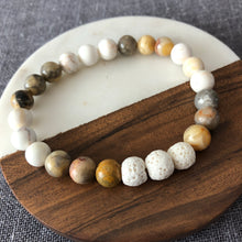 Large Diffuser Bracelet with Crazy Lace Agate and Lava Rock