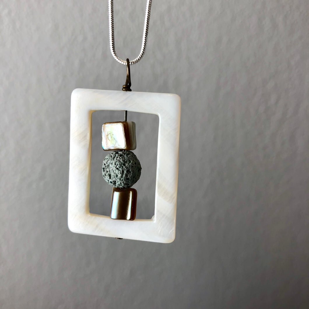 Diffuser Pendant with Shell and Lava Rock