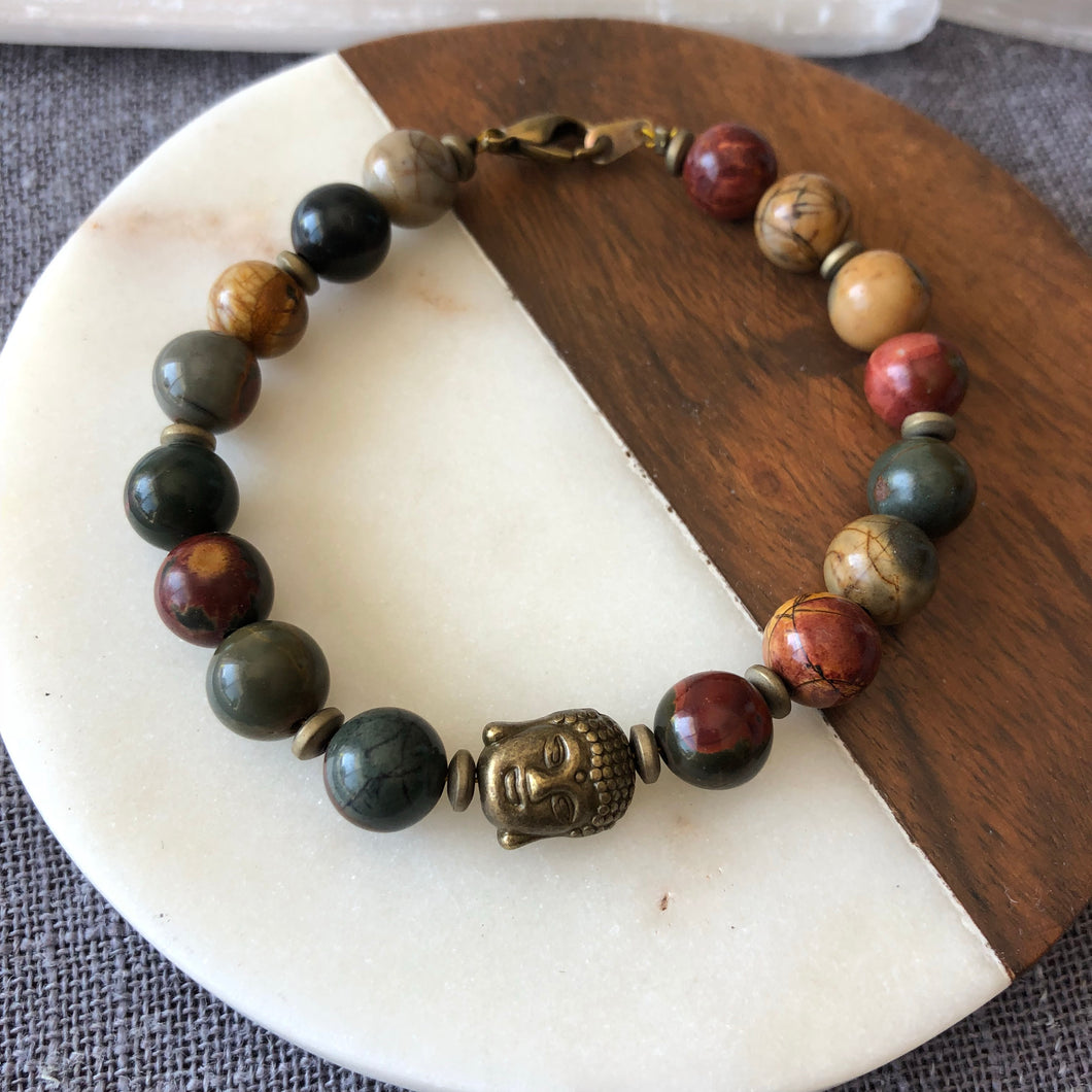 Red Creek Jasper Clasp Bracelet with Buddha Charm Handmade Healing Crystal Jewelry