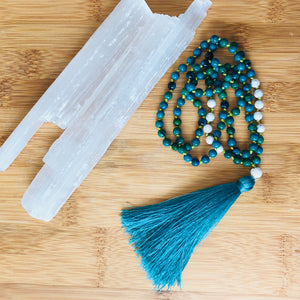 Hand Knotted Meditation Mala with Chrysocolla, Howlite and Carved Shell Guru Bead