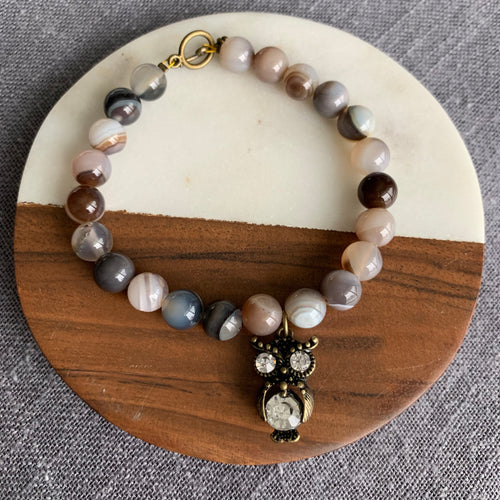 Owl Charm Bracelet with Smoky Agate and Toggle