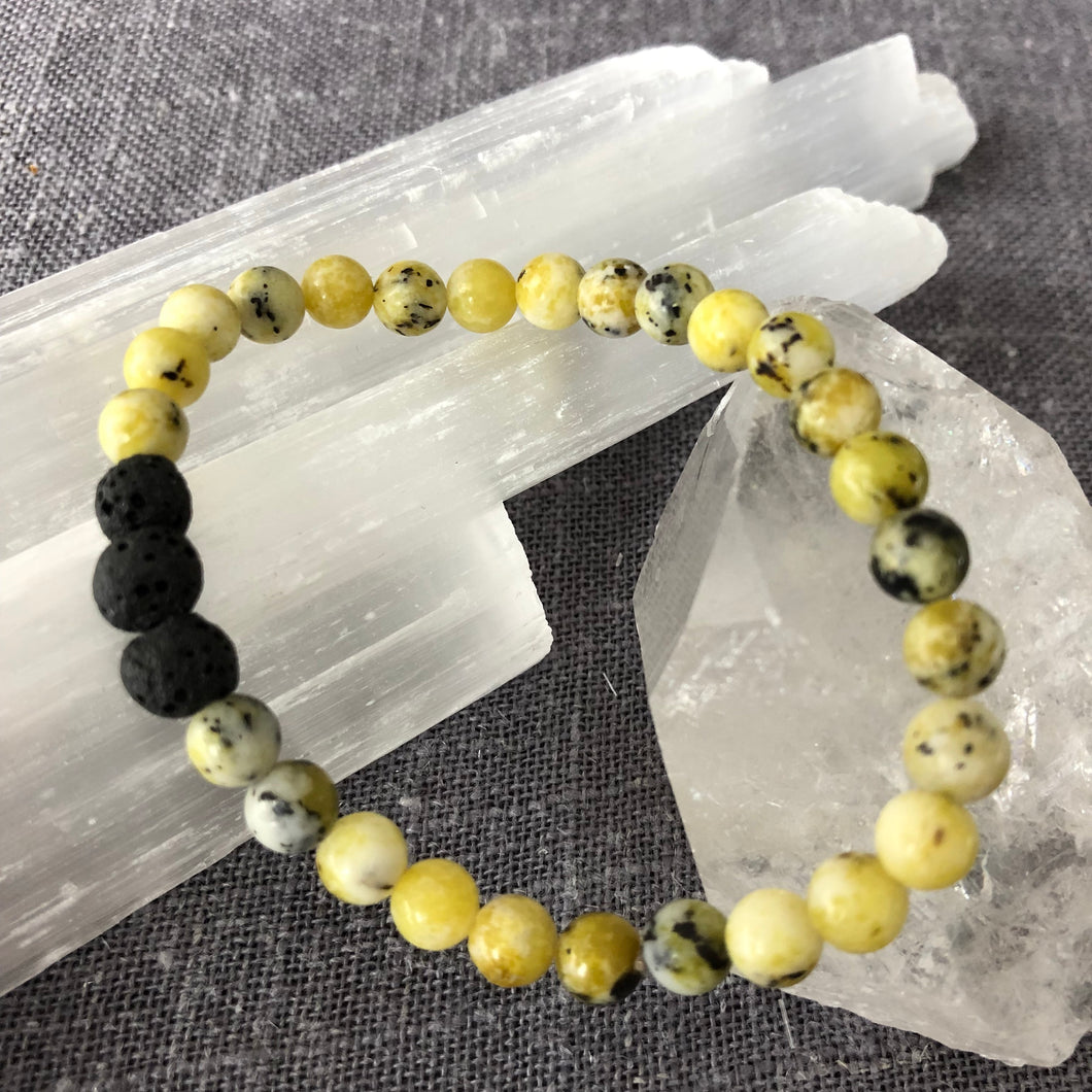 Diffuser Bracelet with Unakite and Lava Rock