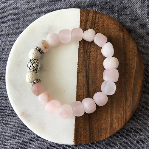 Diffuser Bracelet with Rose Quartz and Lava Rock