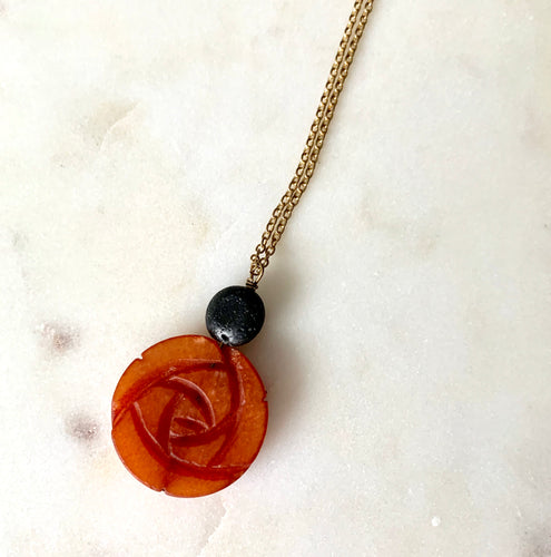 Diffuser Pendant with Carved Flower Carnelian and Lava Rock