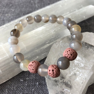 Diffuser Bracelet with Gray Onyx and Lava Rock