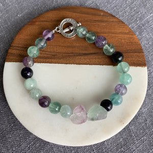 Fluorite Bracelet with Chunky Fluorite Accents