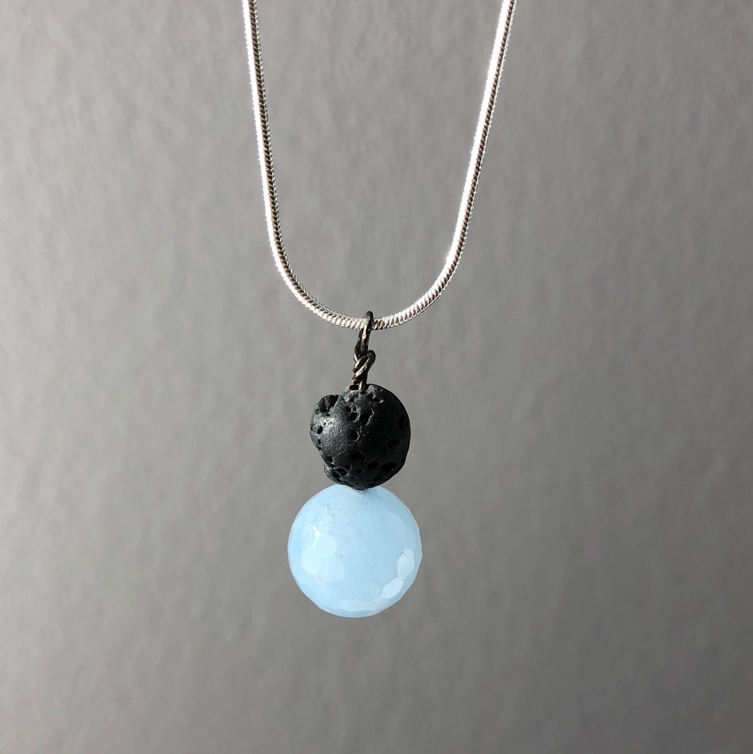 Diffuser Pendant with Chalcedony and Lava Rock