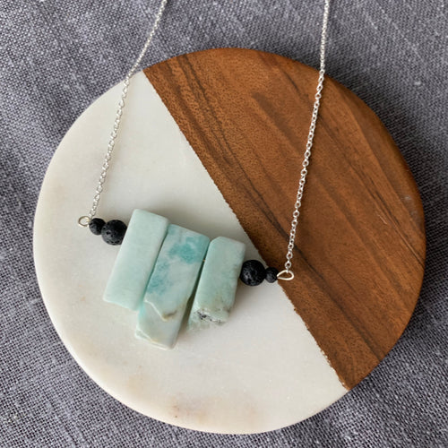 Diffuser Necklace with Amazonite and Lava Rock