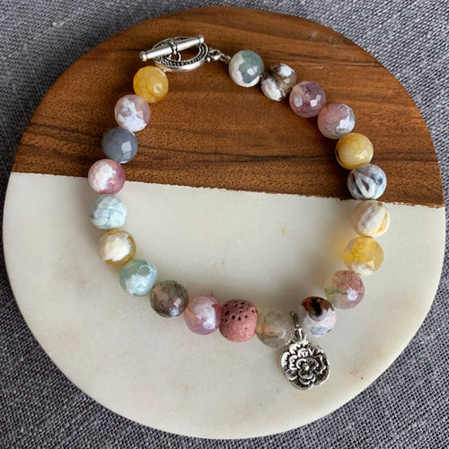 Flower Diffuser Bracelet with Fire Agate and Toggle