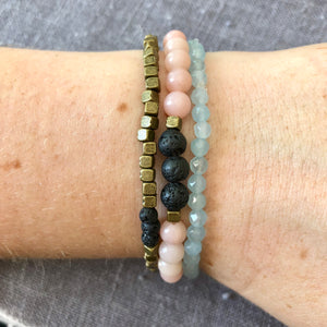 'Vitality' Diffuser Bracelet with Pink Opal and Lava Rock
