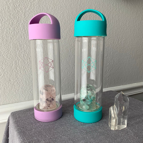 Gem Water Bottle {glass bottles with crystal pods}