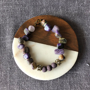 Charoite and Lava Rock Diffuser Bracelet with Toggle