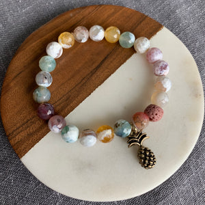 Pineapple Diffuser Bracelet with Fire Agate