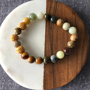 Diffuser Bracelet with Antique Soochow Jade and Lava Rock