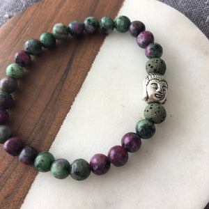 Buddha Diffuser Bracelet with Ruby Zoisite and Lava Rock