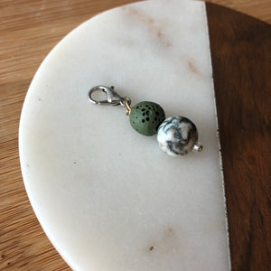 Pet Diffuser Charm with Lava Rock and Tree Agate