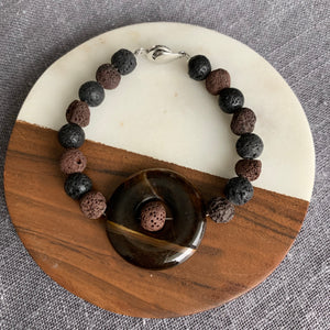 Diffuser Bracelet with Tiger's Eye and Lava Rock