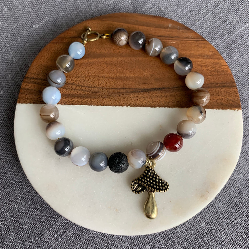 Cute Mushroom Diffuser Bracelet with Smoky Agate, Lava Rock and Toggle