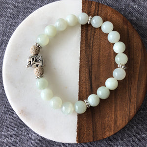 Elephant Diffuser Bracelet with New Jade and Lava Rock