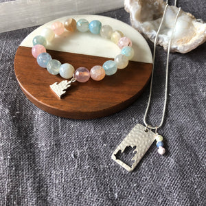 Castle Agate Bracelet and Pendant Set